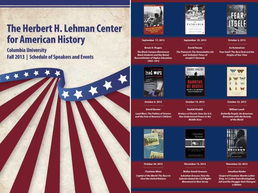 Herbert H. Lehman Center for American History, Fall 2013 Schedule of Speakers and Events